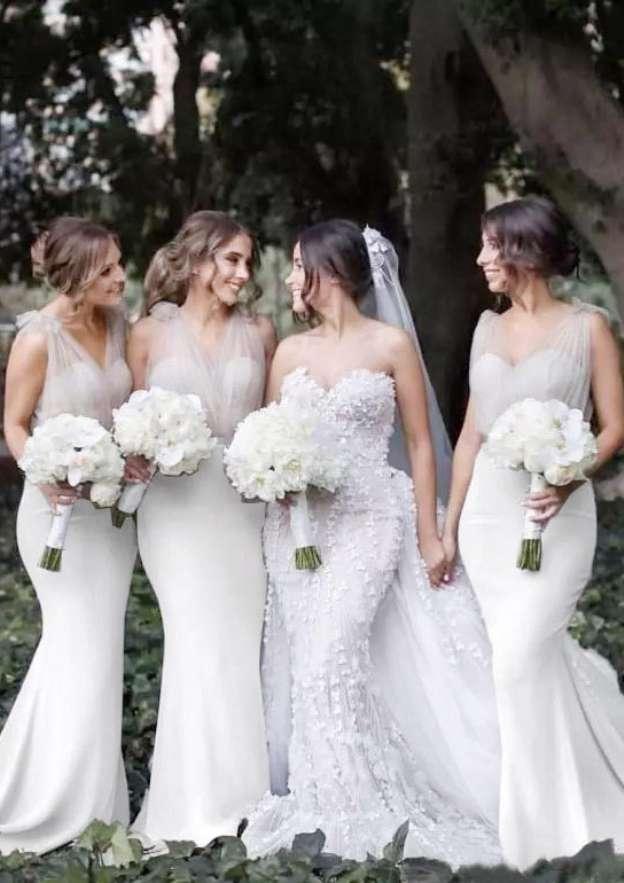 Trumpet/Mermaid V Neck Sleeveless Sweep Train Elastic Satin Bridesmaid Dress With Waistband
