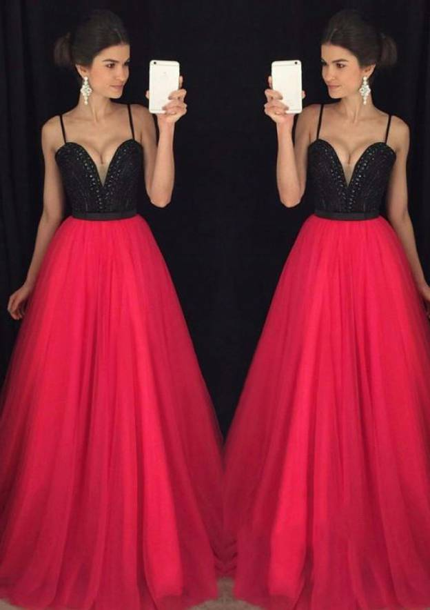A-Line/Princess Sweetheart Sleeveless Long/Floor-Length Tulle Prom Dress