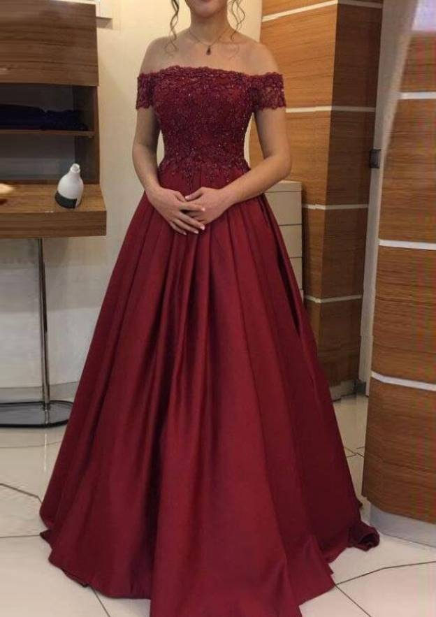 A-Line/Princess Off-The-Shoulder Sleeveless Long/Floor-Length Elastic Satin Prom Dress With Lace Pleated