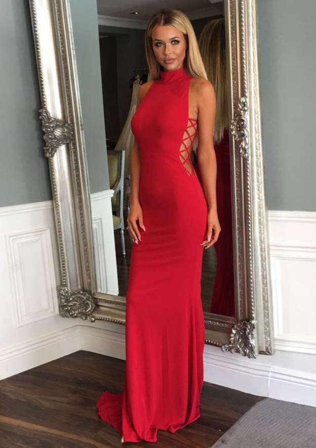 Trumpet/Mermaid High-Neck Sleeveless Sweep Train Jersey Prom Dress