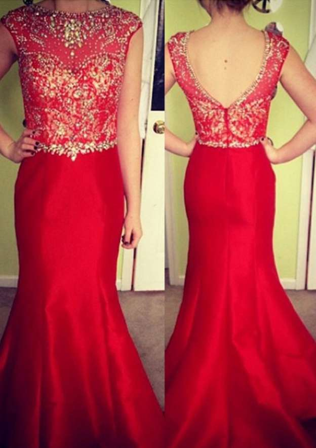 Trumpet/Mermaid Bateau Sleeveless Sweep Train Satin Prom Dresses With Sequins Beading