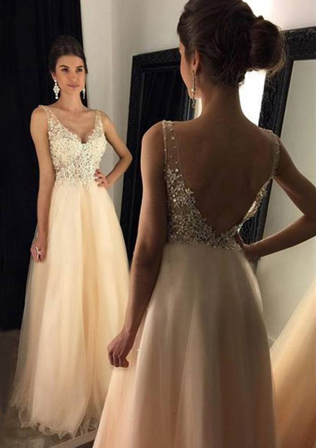 A-Line/Princess V Neck Sleeveless Long/Floor-Length Tulle Prom Dress With Beading Appliqued
