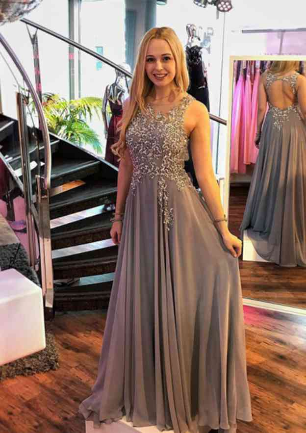 A-Line/Princess Bateau Sleeveless Long/Floor-Length Chiffon Prom Dress With Appliqued