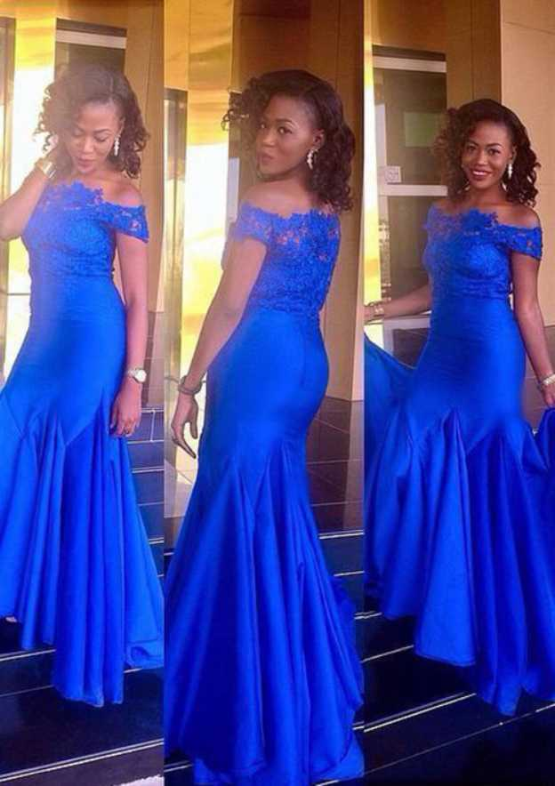 Trumpet/Mermaid Off-The-Shoulder Sleeveless Long/Floor-Length Charmeuse Prom Dress With Pleated Appliqued