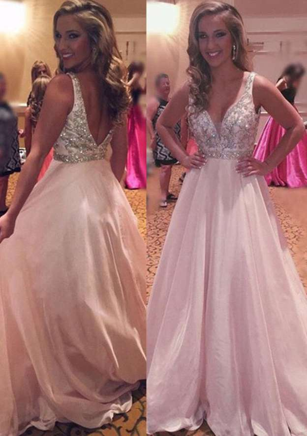 A-Line/Princess Sweetheart Sleeveless Long/Floor-Length Chiffon Prom Dress With Pleated Beading