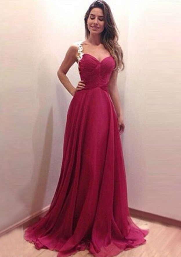A-Line/Princess Sweetheart Sleeveless Sweep Train Chiffon Prom Dress With Appliqued