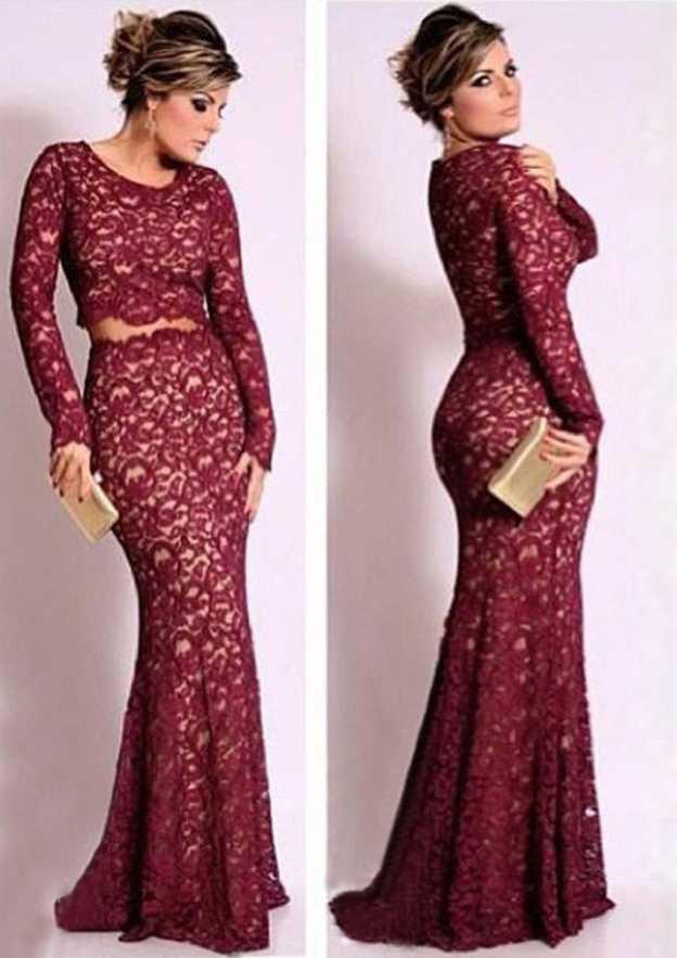 Trumpet/Mermaid Scoop Neck Full/Long Sleeve Sweep Train Lace Prom Dress