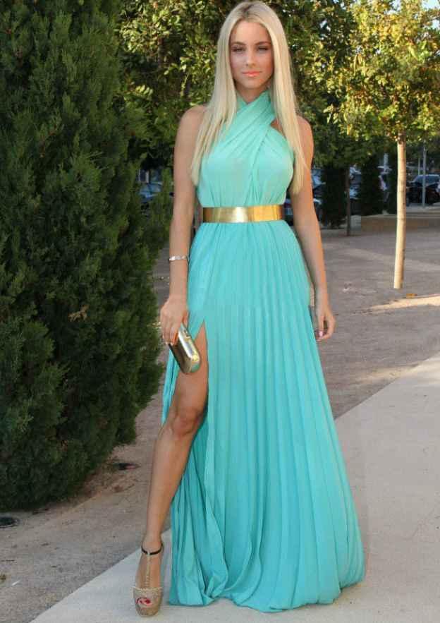 A-Line/Princess High-Neck Sleeveless Long/Floor-Length Chiffon Prom Dress With Split
