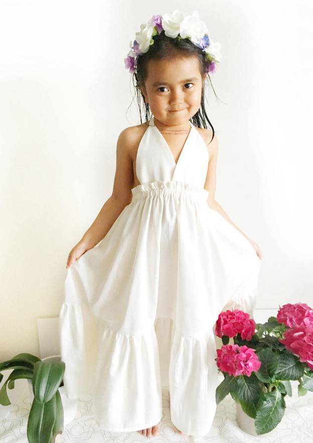 A-Line/Princess Halter Sleeveless Ankle-Length Chiffon Flower Girl Dress