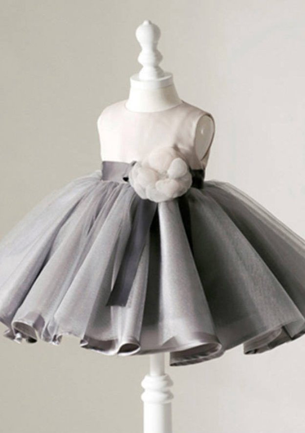 Ball Gown Bateau Sleeveless Tea-Length Tulle Flower Girl Dress With Handmade Flowers Waistband
