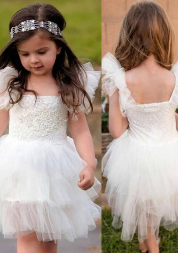 A-Line/Princess Square Neckline Sleeveless Knee-Length Tulle Flower Girl Dress With Appliqued Lace
