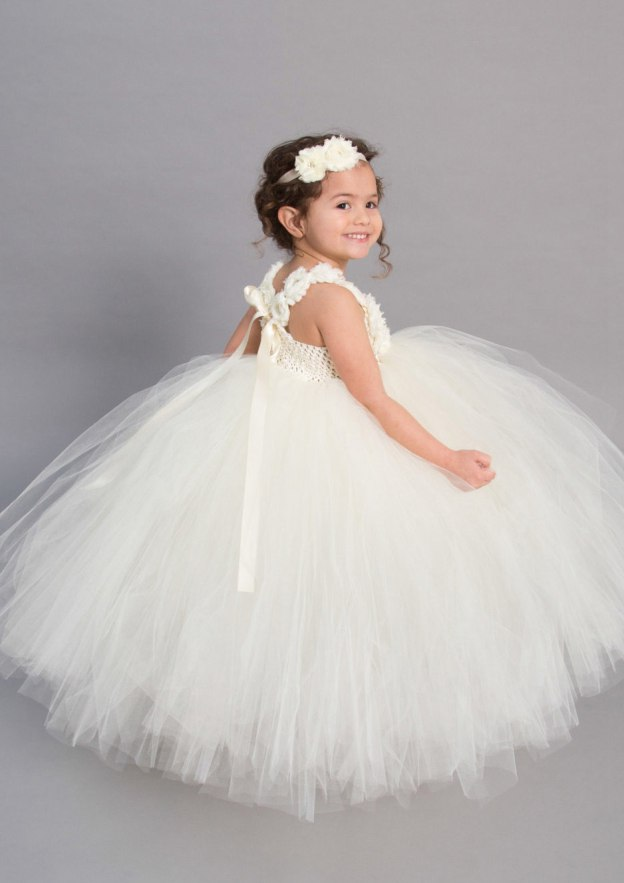 Ball Gown Square Neckline Sleeveless Ankle-Length Tulle Flower Girl Dress With Flowers