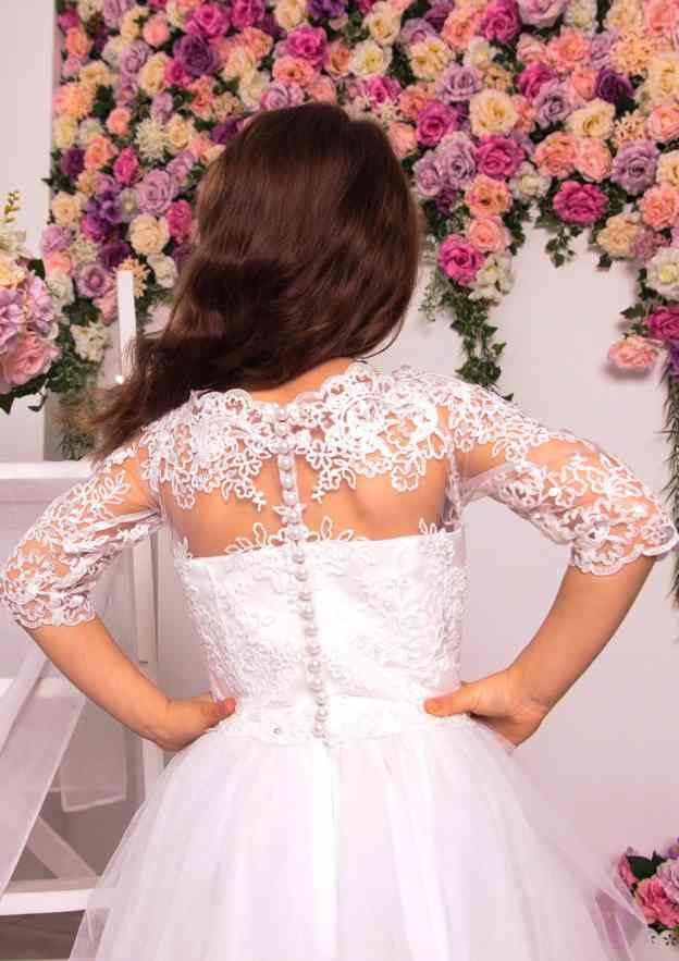 A-Line/Princess Scalloped Neck Half Sleeve Long/Floor-Length Tulle Flower Girl Dress With Lace