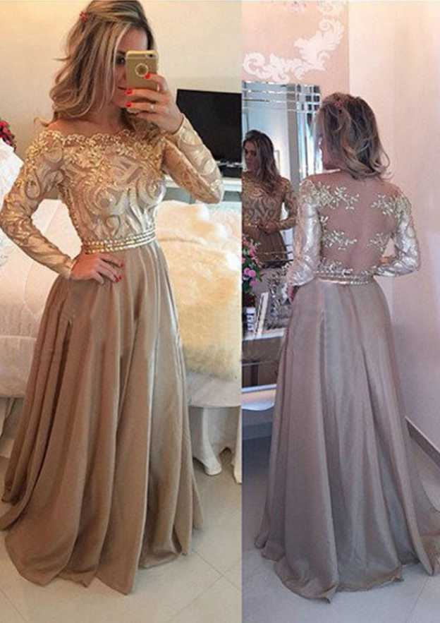 A-Line/Princess Bateau Full/Long Sleeve Long/Floor-Length Chiffon Prom Dress With Beading Lace