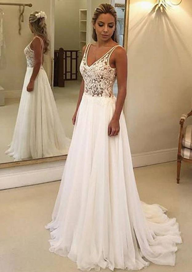 A-Line/Princess V Neck Sleeveless Sweep Train Chiffon Wedding Dress With Lace