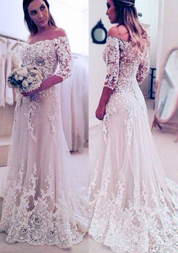 Sheath/Column Off-The-Shoulder 3/4 Sleeve Sweep Train Lace Wedding Dress With Appliqued