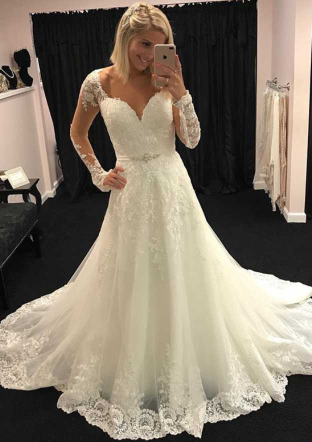 A-Line/Princess Scalloped Neck Full/Long Sleeve Court Train Tulle Wedding Dress With Appliqued Lace Waistband