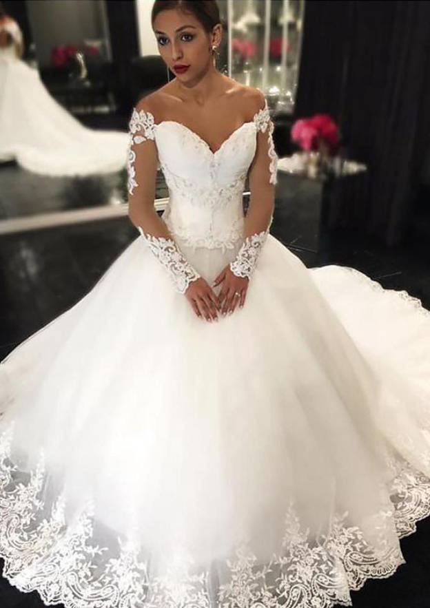 Ball Gown Off-The-Shoulder Full/Long Sleeve Long/Floor-Length Tulle Wedding Dress With Appliqued Hem