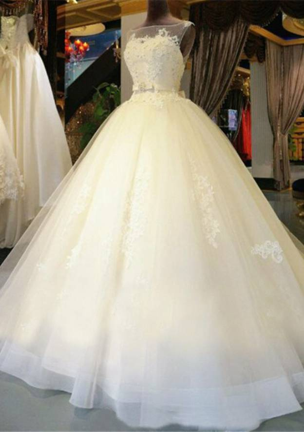 Ball Gown Bateau Sleeveless Long/Floor-Length Tulle Wedding Dress With Waistband Appliqued