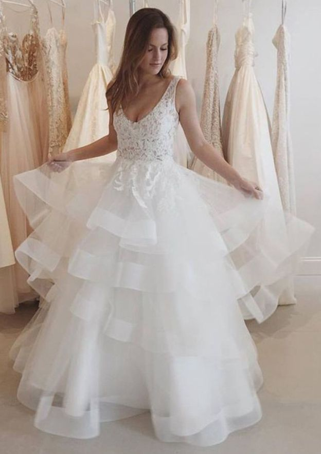 A-Line/Princess Scoop Neck Sleeveless Long/Floor-Length Tulle Wedding Dress With Lace Ruffles