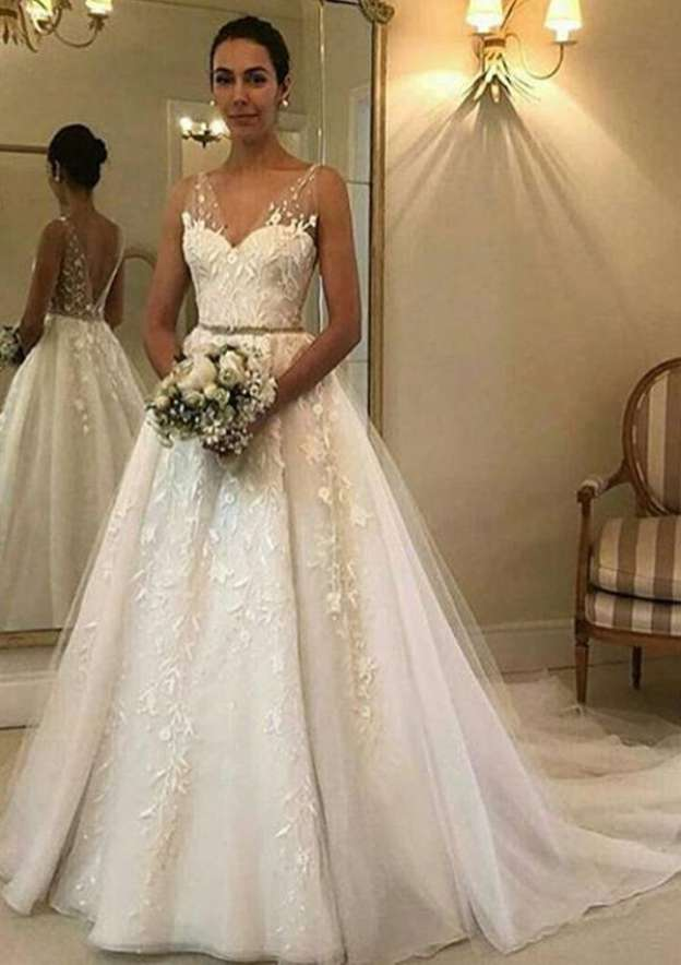 A-Line/Princess V Neck Sleeveless Court Train Tulle Wedding Dress With Waistband Appliqued