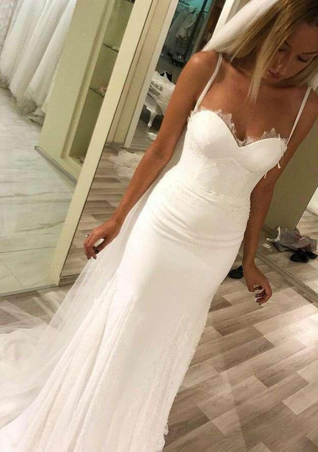 Sheath/Column Sweetheart Sleeveless Sweep Train Wedding Dress