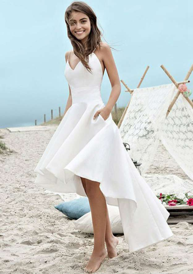 A-Line/Princess V Neck Sleeveless Asymmetrical Elastic Satin Wedding Dress