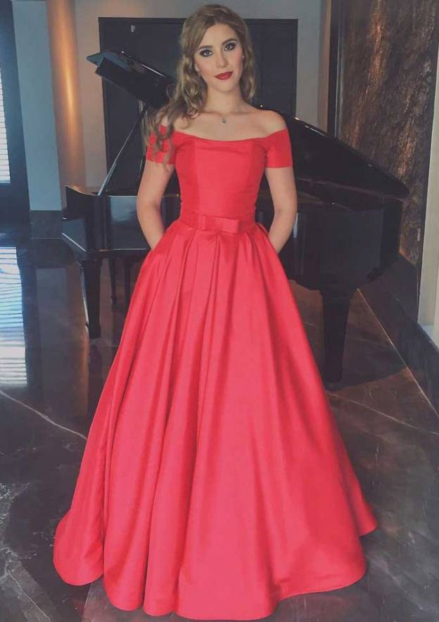 Ball Gown Off-The-Shoulder Short Sleeve Long/Floor-Length Satin Prom Dress With Waistband
