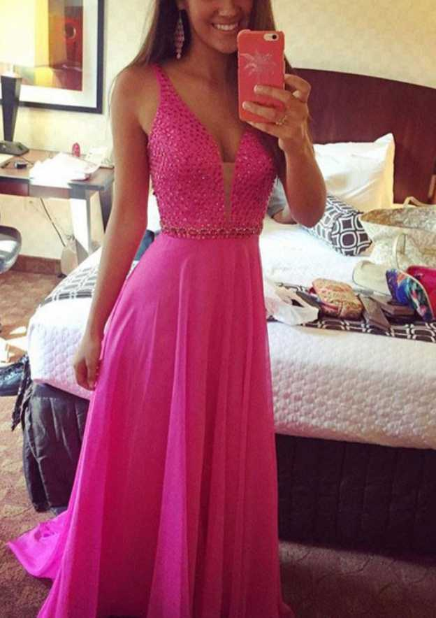 A-Line/Princess V Neck Sleeveless Long/Floor-Length Chiffon Prom Dress With Waistband Beading