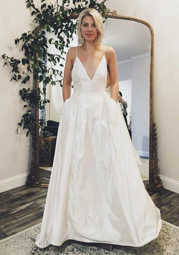 A-Line/Princess V Neck Sleeveless Sweep Train Satin Wedding Dress With Pockets