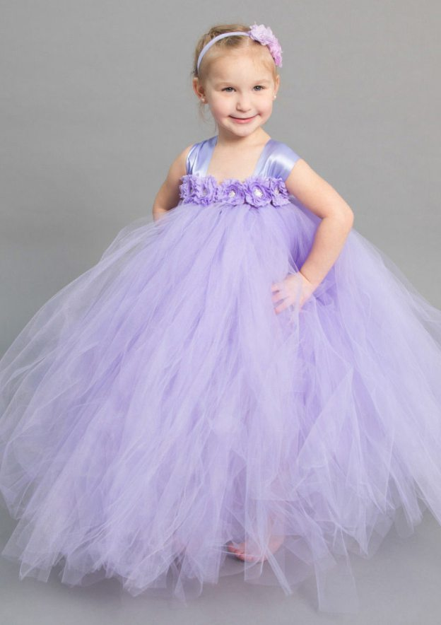 Ball Gown Square Neckline Sleeveless Long/Floor-Length Tulle Flower Girl Dress With Handmade Flowers
