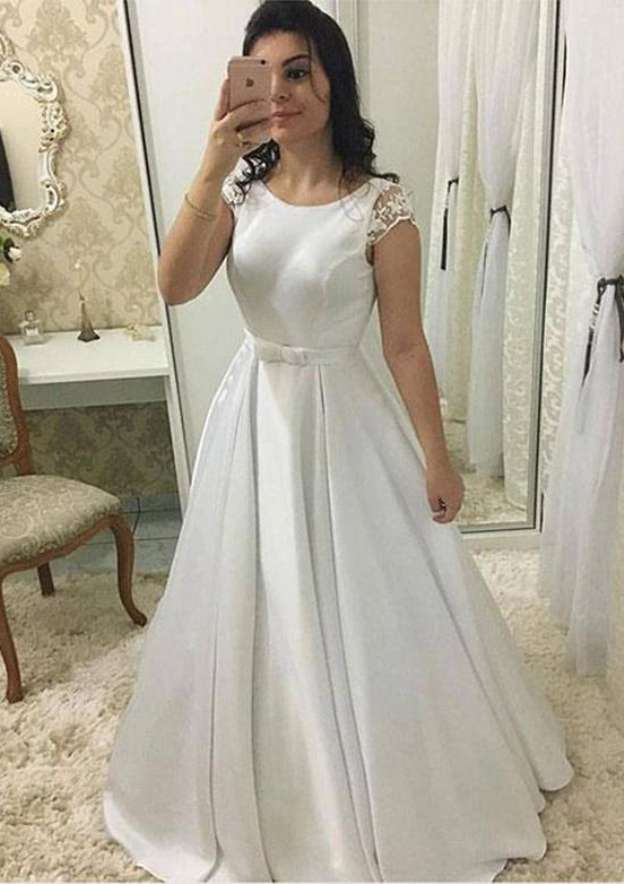 A-Line/Princess Bateau Sleeveless Sweep Train Satin Wedding Dress With Waistband Lace