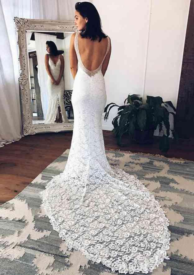 Sheath/Column V Neck Sleeveless Chapel Train Lace Wedding Dress With Split