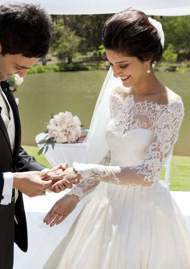 Ball Gown Off-The-Shoulder Full/Long Sleeve Sweep Train Satin Wedding Dress With Lace Pleated