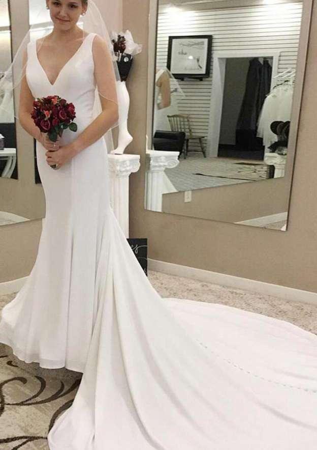 Sheath/Column V Neck Sleeveless Chapel Train Elastic Satin Wedding Dress