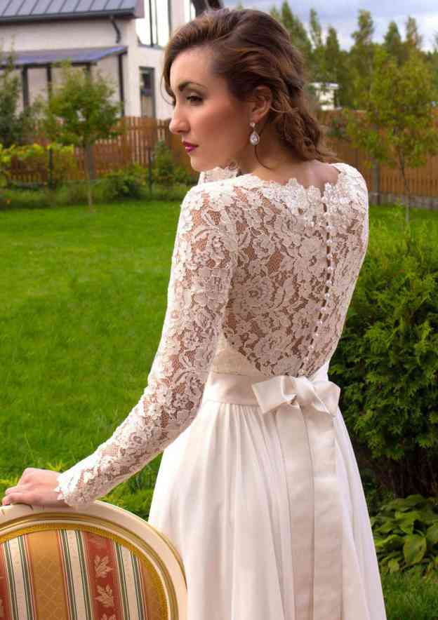 A-Line/Princess Scalloped Neck Full/Long Sleeve Long/Floor-Length Chiffon Wedding Dress With Lace Sashes