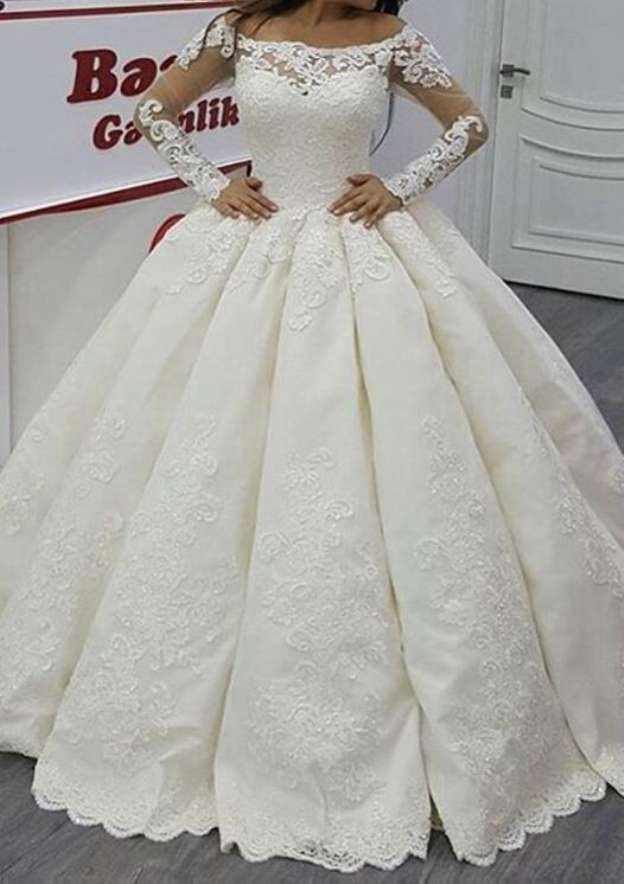 Ball Gown Off-The-Shoulder Full/Long Sleeve Long/Floor-Length Satin Wedding Dress With Appliqued