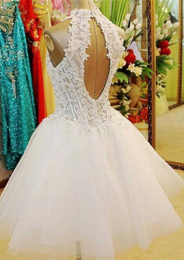 Ball Gown High-Neck Sleeveless Knee-Length Tulle Wedding Dress With Appliqued Beading