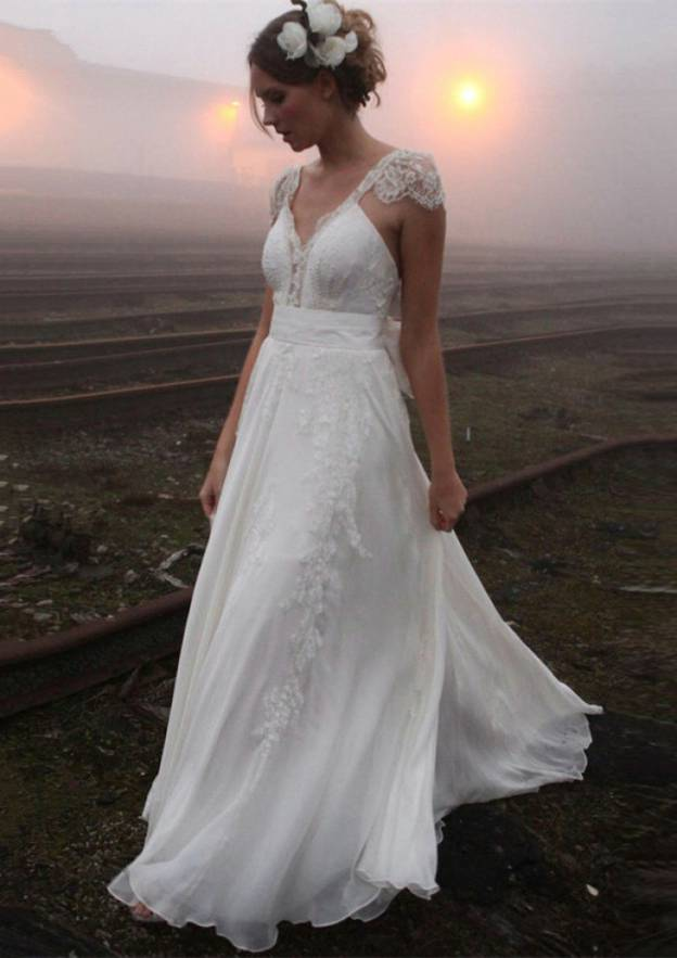 A-Line/Princess V Neck Sleeveless Court Train Chiffon Wedding Dress With Appliqued Bowknot