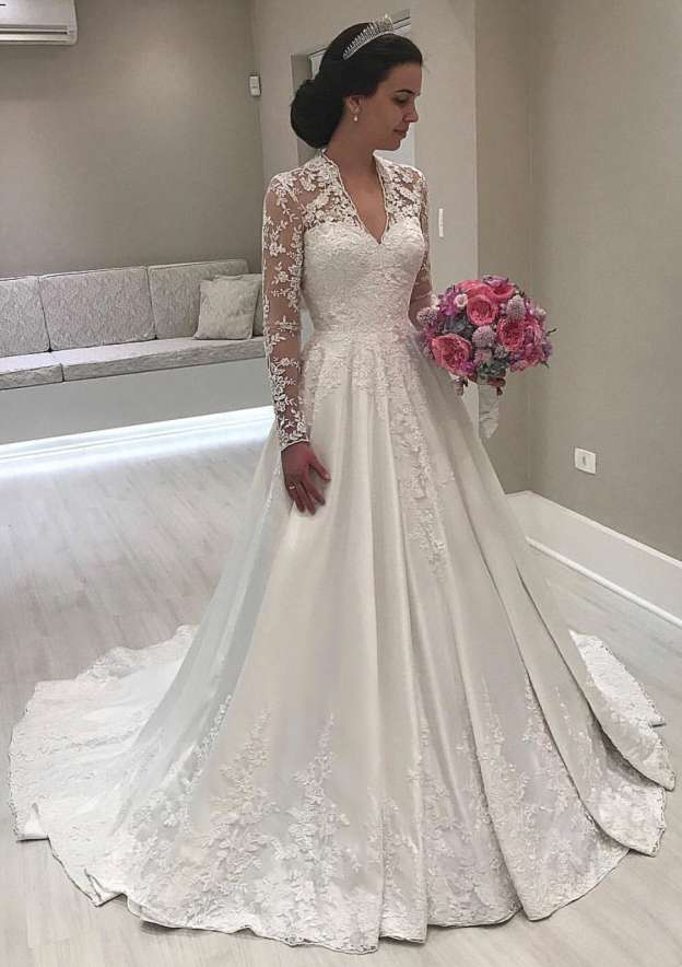 Ball Gown V Neck Full/Long Sleeve Sweep Train Satin Wedding Dress With Appliqued Lace