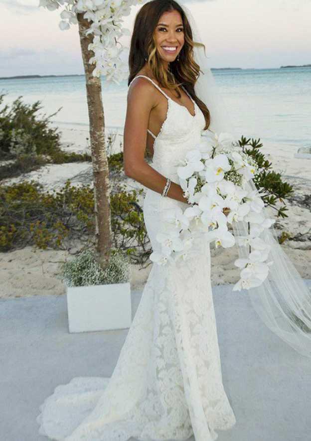 Sheath/Column Sleeveless V Neck Sweep Train Lace Wedding Dress