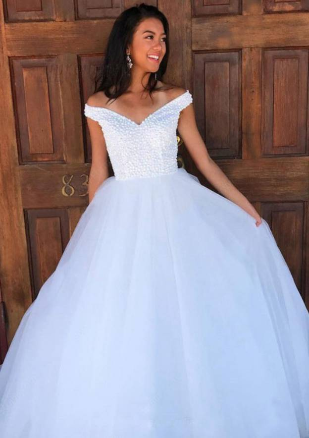A-Line/Princess Sleeveless Long/Floor-Length Tulle Wedding Dress With Beading