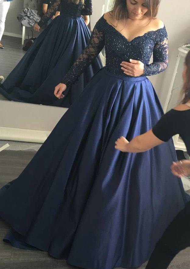 Ball Gown V Neck Full/Long Sleeve Sweep Train Satin Prom Dress With Appliqued Beading