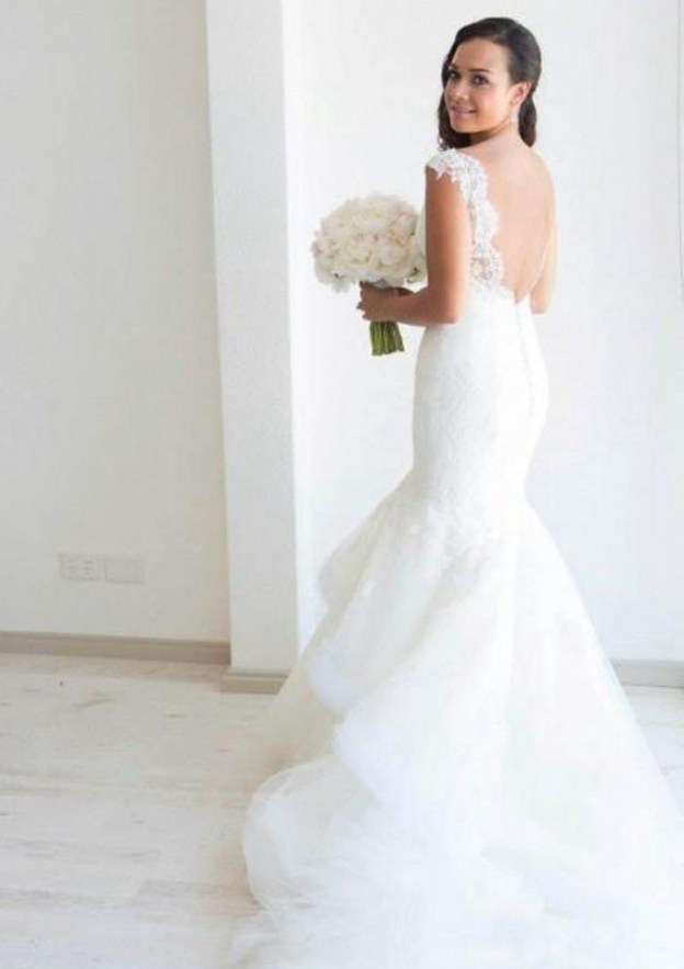 Trumpet/Mermaid Scalloped Neck Sleeveless Court Train Tulle Wedding Dress With Lace Ruffles