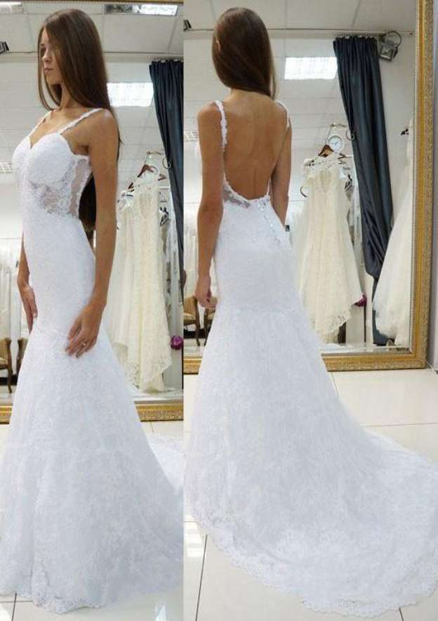 Sheath/Column Sweetheart Sleeveless Court Train Lace Wedding Dress