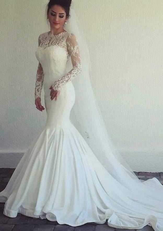 Trumpet/Mermaid Scoop Neck Full/Long Sleeve Chapel Train Lace Wedding Dress