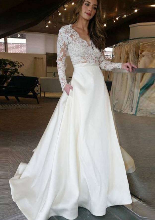 A-Line/Princess V Neck Full/Long Sleeve Sweep Train Satin Wedding Dress With Lace