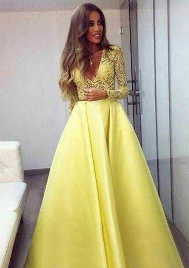 Ball Gown V Neck Full/Long Sleeve Long/Floor-Length Satin Prom Dress With Lace