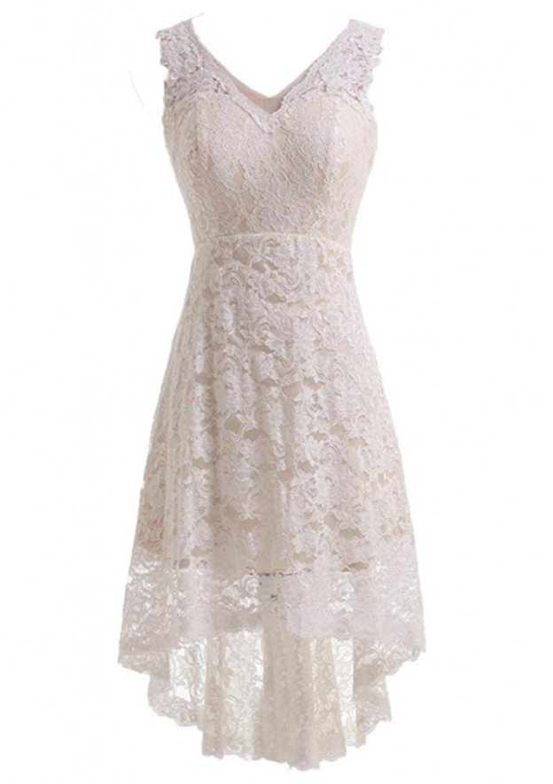 A-Line/Princess V Neck Sleeveless Asymmetrical Lace Wedding Dress