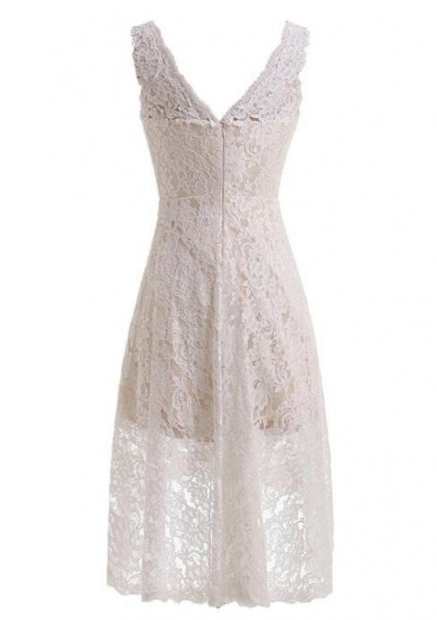 A-Line/Princess V Neck Sleeveless Asymmetrical Lace Wedding Dress
